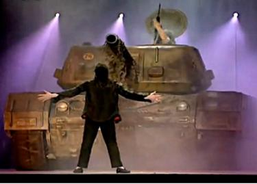 Earth Song Military Industrial Tank subdued on stage