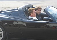 Schwarzenegger at Tesla Roadster launch