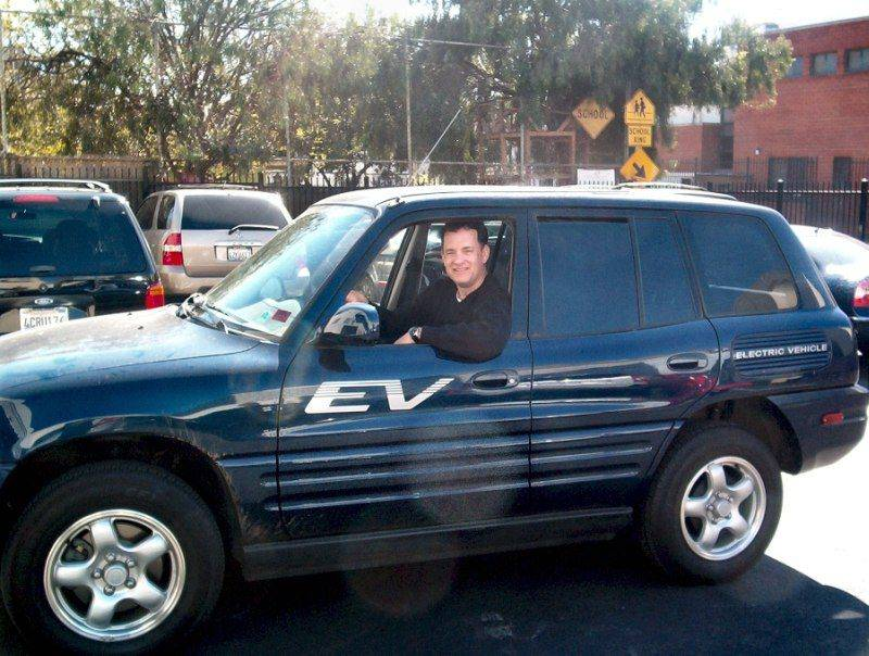 Tom Hanks in his Rav4 EV