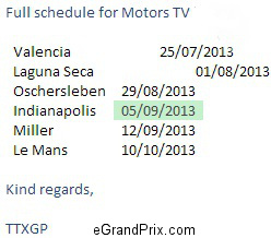 Motors TV eRoad Racing FIM TV schedule July-Sept